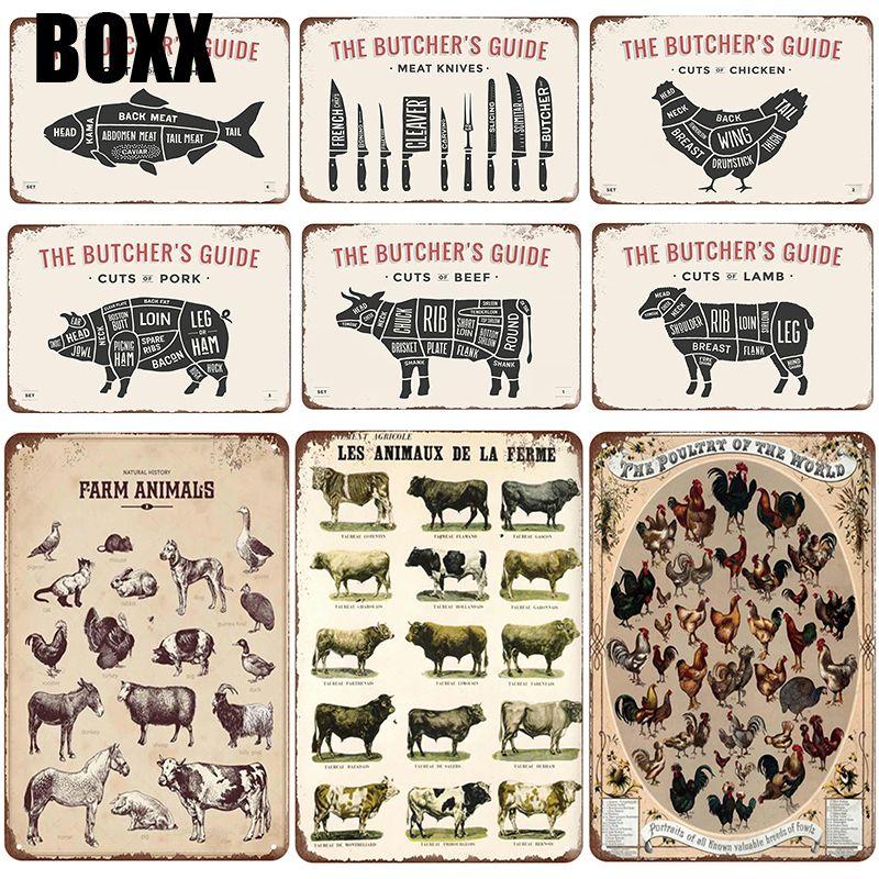 Metal Tin Sign les animaux de la ferme Decor Bar Pub Home Vintage Retro