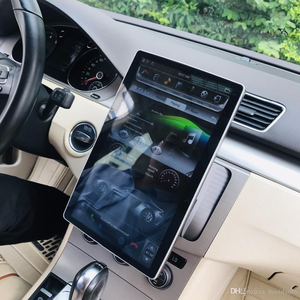 """PS Rotatable Screen 6-Core PX6 HD CAR DVD 2 din 12.8"""" Android 8.1 Universal Car Radio dvd GPS Head Unit Bluetooth WIFI USB Easy Connect"""