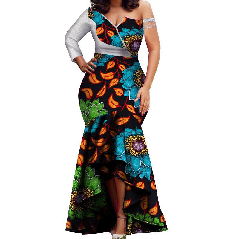 Primavera nova moda afriac vestidos para as mulheres Dashiki Rendas Patchwork Tradicional Africano Roupas Vestido de Festa WY3714