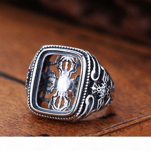 Real Sterlingsilber 925 halb Gehäuseflansch-Verpflichtungs-Mann-Ring-Kissen Cabochon 13x17mm Vintage Art Deco Adjustable