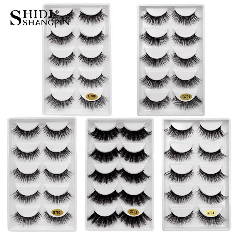 5 Pairs 3d Vizon Kirpik Tam Şerit Vizon Kirpik makyaj Yanlış Eyelashes Doğal Uzun El Yapımı Sahte Göz Kirpik
