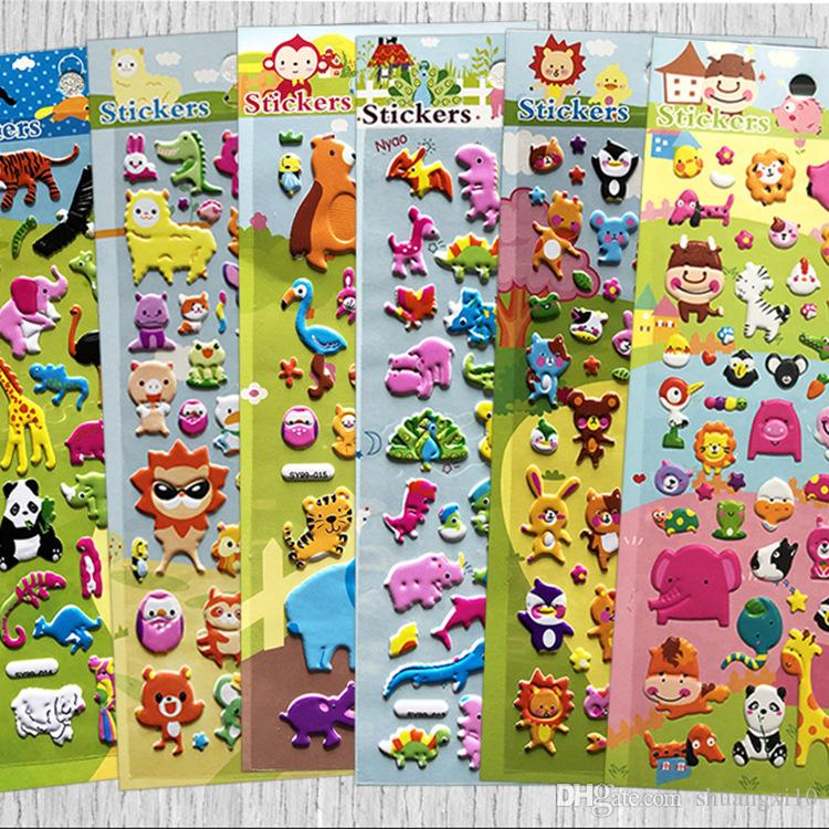 2019 Kawaii Animal Bubble Stickers Children Toy Cartoon Sticker Three-dimensional Reward Paste Small Toys for Kids Stickers