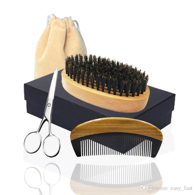 5in1 Boar Bristle Beard Brush, Horn Wood Comb & Mustache Scissor Box Set Facial Makeup Hair Care Styling Grooming Trimming Company Supplier