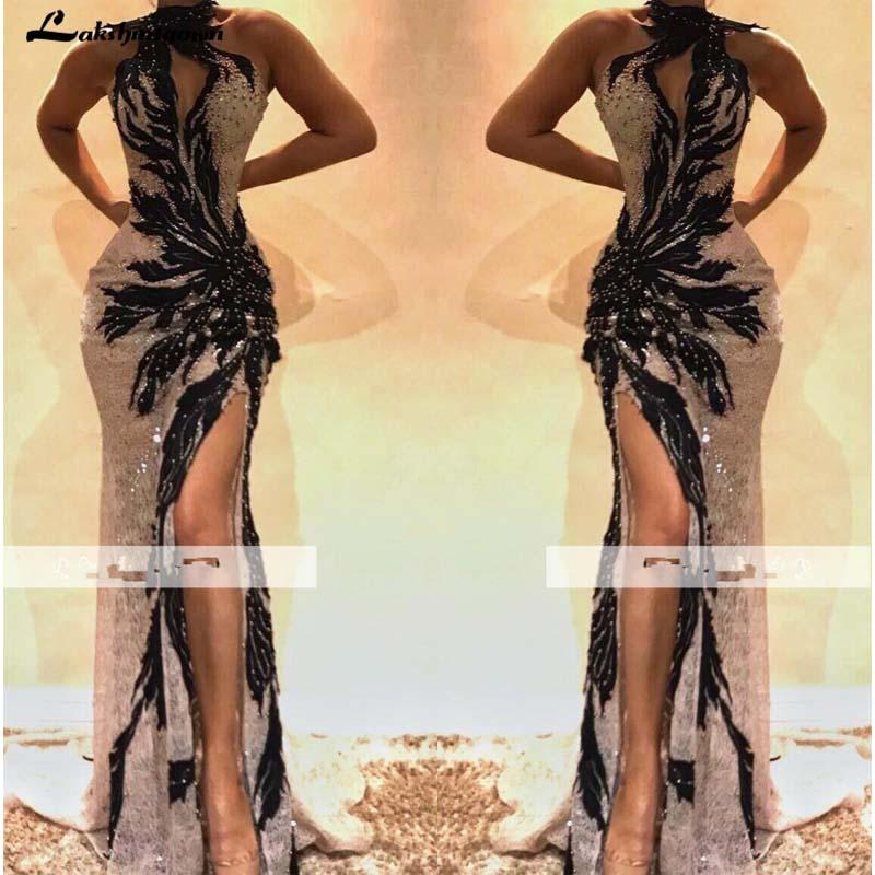 2019 Sexy Halter Lace Beading Mermaid Prom Dresses High Neck Front Split Black Applique Evening Gowns with Slit