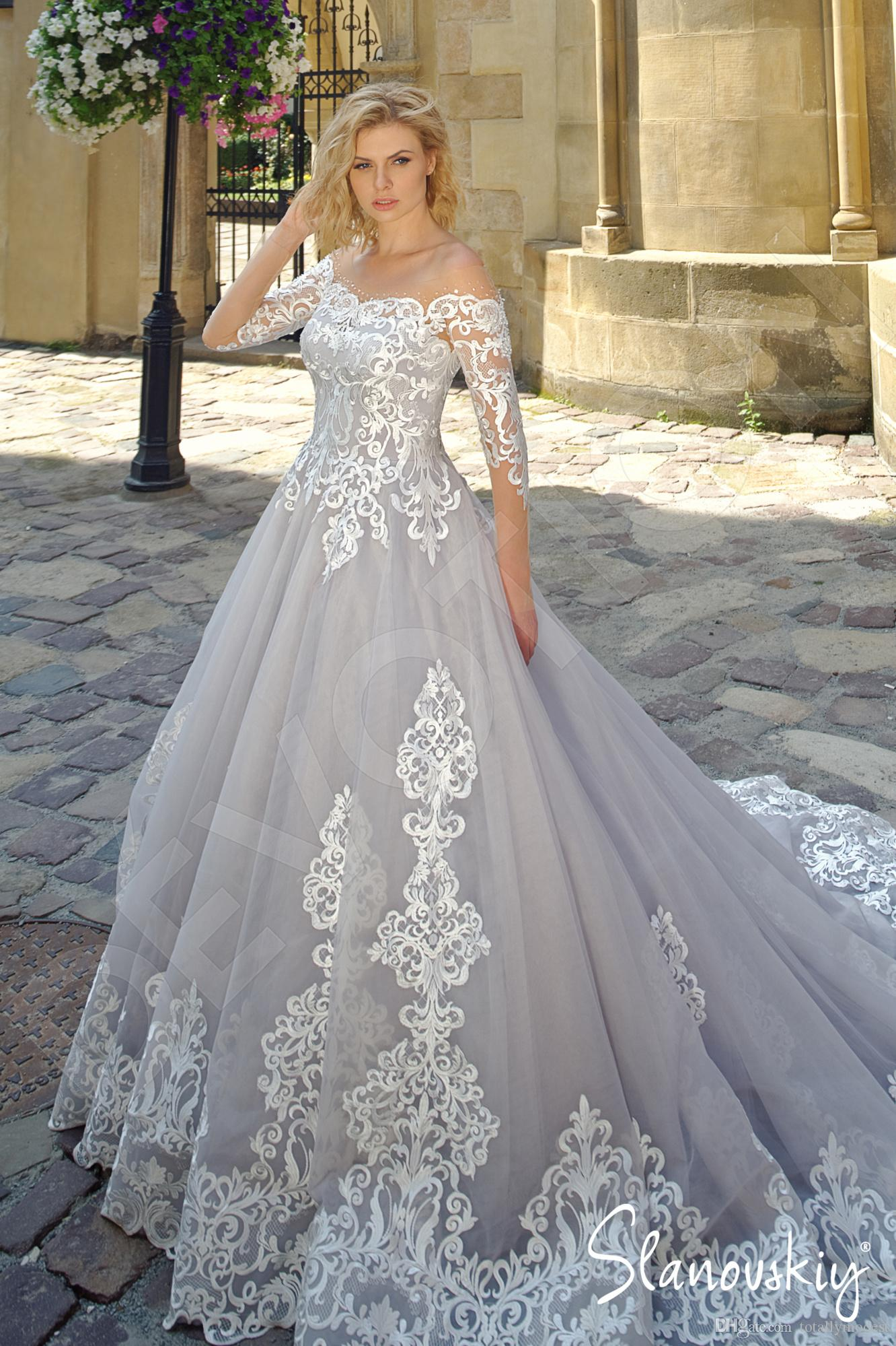 discount silver and ivory wedding dresses with long sleeves 2020 new custom  made sheer illusion top vintage colored wedding gowns non white bridal
