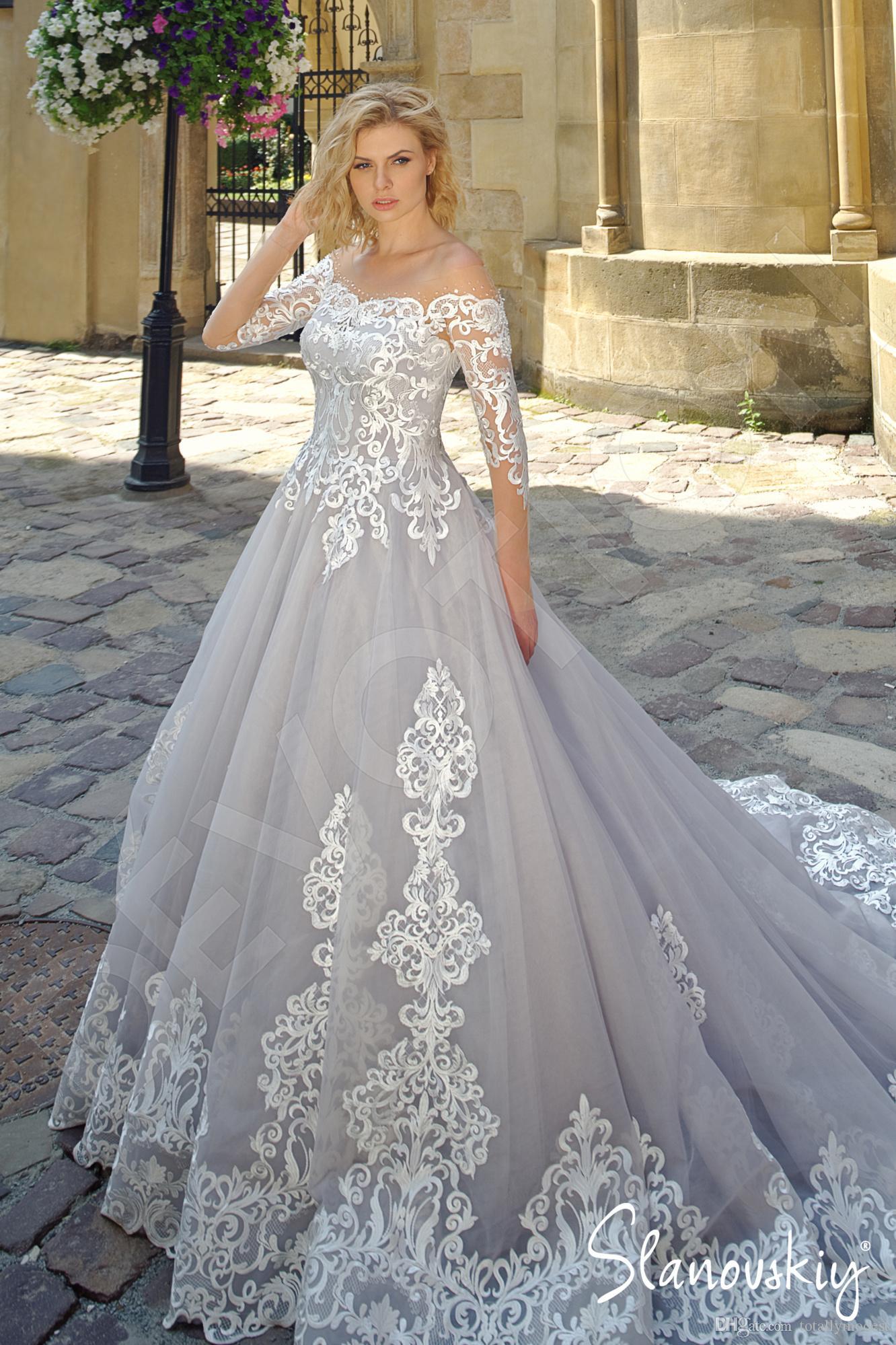 Silber- und Elfenbein Brautkleider mit langen Ärmeln 2020 Neue Maßgeschneiderte Sheer Illusion Top Vintage Farbige Brautkleider Nicht weiß