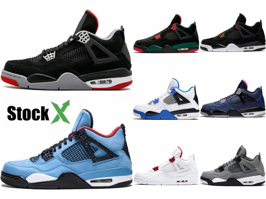 Ücretsiz Kargo Travis X Jumpman 4 Houston Yeşil Devekuşu Damarlar Bebek Erkek Basketbol Ayakkabı Iv 4S Cactus Jack Logo Sneaker # 674