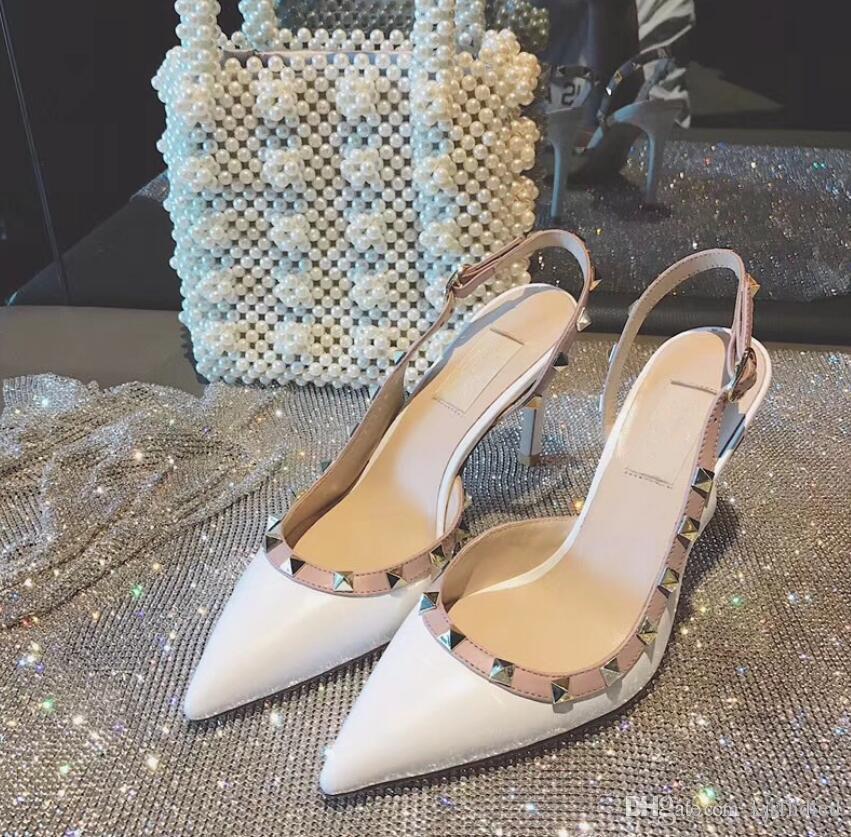 Envío gratis moda mujeres bombas azul mate tachas puntas punta estrecha tiras tacones altos sandalias zapatos botas de boda de la boda pump6 8 10 cm
