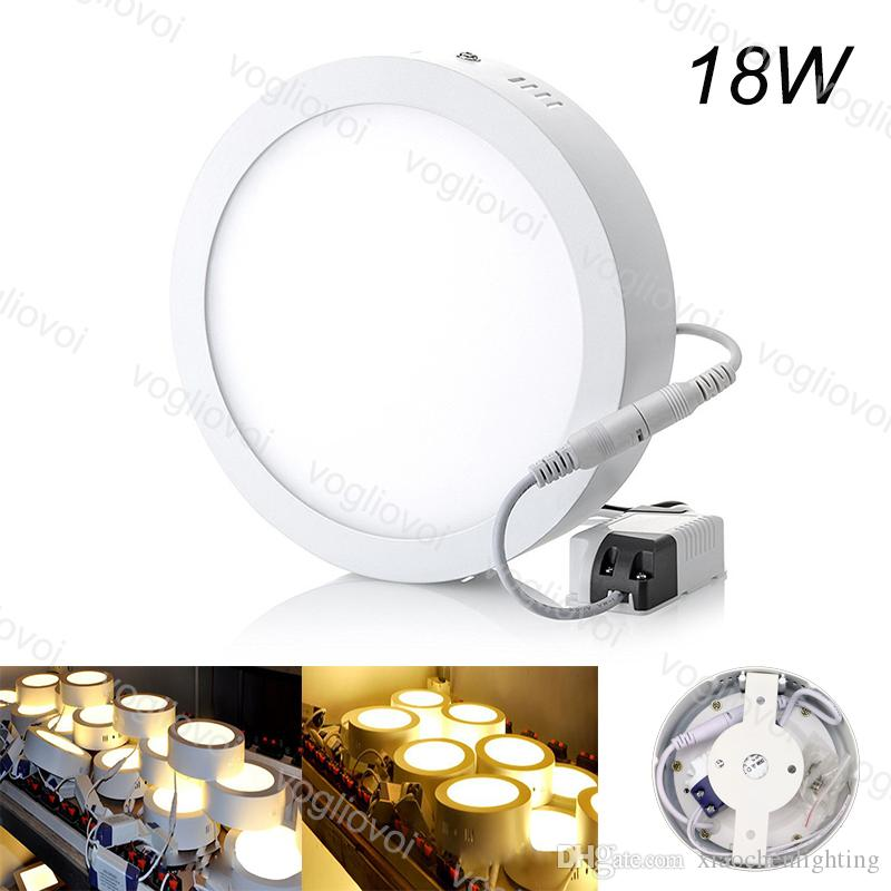 Downlights Surface Redonda 18W 218mm Face AC110V 240V Alumínio Acrílico Side Emitindo Quente Branco Para Quarto Cozinha Corredor DHL