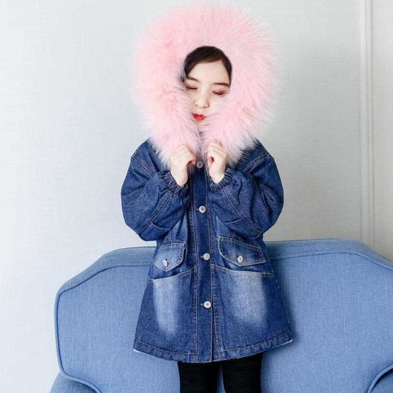 Chaqueta de los niños abrigo de mezclilla con la piel de los adolescentes frío de niños ropa de invierno Denim chaquetas con capucha para la capa del niño de las muchachas Trench