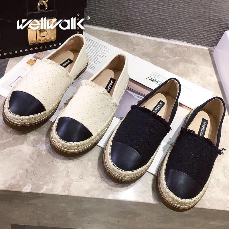 أحذية قماش متعطل المرأة شقة قماشية المطاط وحيد جولة تو أنثى عارضة الخف الربيع الخريف الصياد إمرأة حذاء