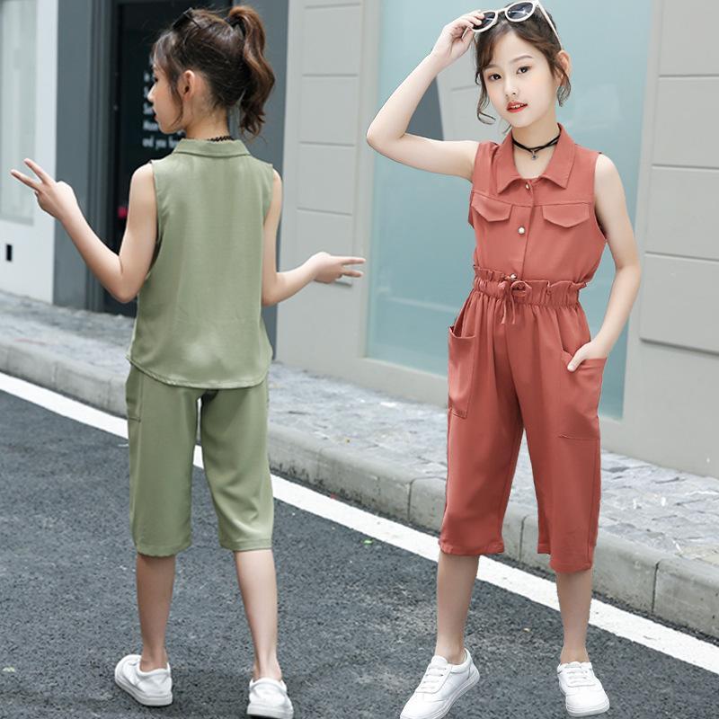 Estate Moda Corredo bambino Set Top Pantaloni bambini delle 2 parti dei bambini del vestito di abbigliamento teen ragazze Outfits 4-13 anni T200613
