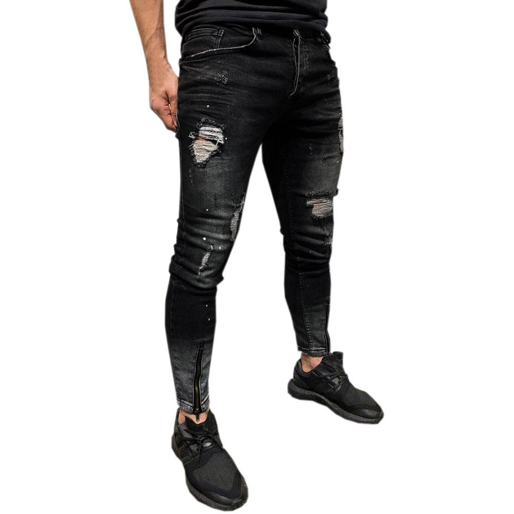 Men Stretchy Ripped Skinny Biker Solid stripe Jeans with zipper Hole Taped Slim Fit Denim Scratched High Quality Jean 4.25