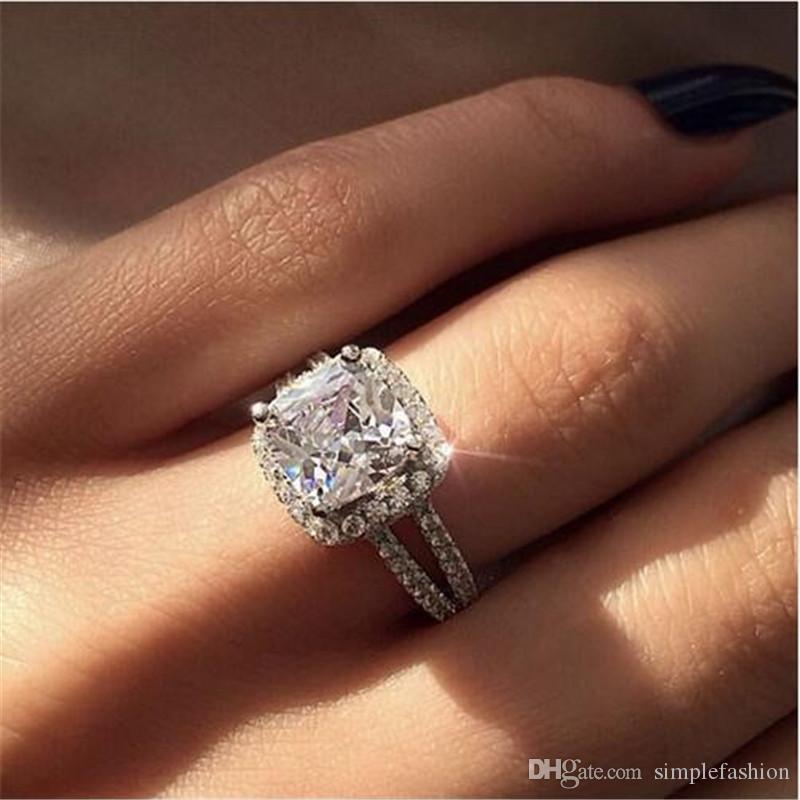 Vecalon Espumante Promise Anel de prata esterlina 925 Cushion corte 3ct Anéis de Casamento Banda de Diamante Para As Mulheres Jóias Presente