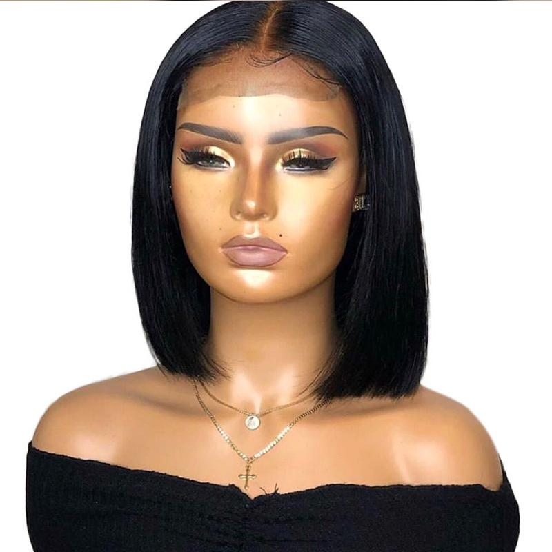 13x6 Deep Part Human Hair Lace Front Wigs With Baby Hair Pre Plucked Short Bob Brazilian Virgin Middle Part Wig For Black Women
