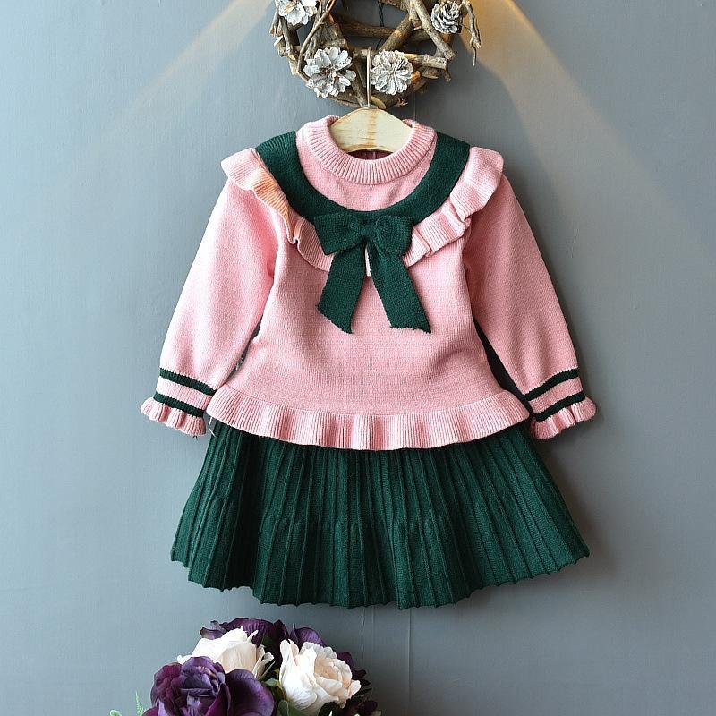 2019 Herbst koreanischen Stil Baby Mädchen im westlichen Stil gestrickt Spitze kurzen Rock zweiteiliger Anzug Top Pullover Kurzer Rock Pullover