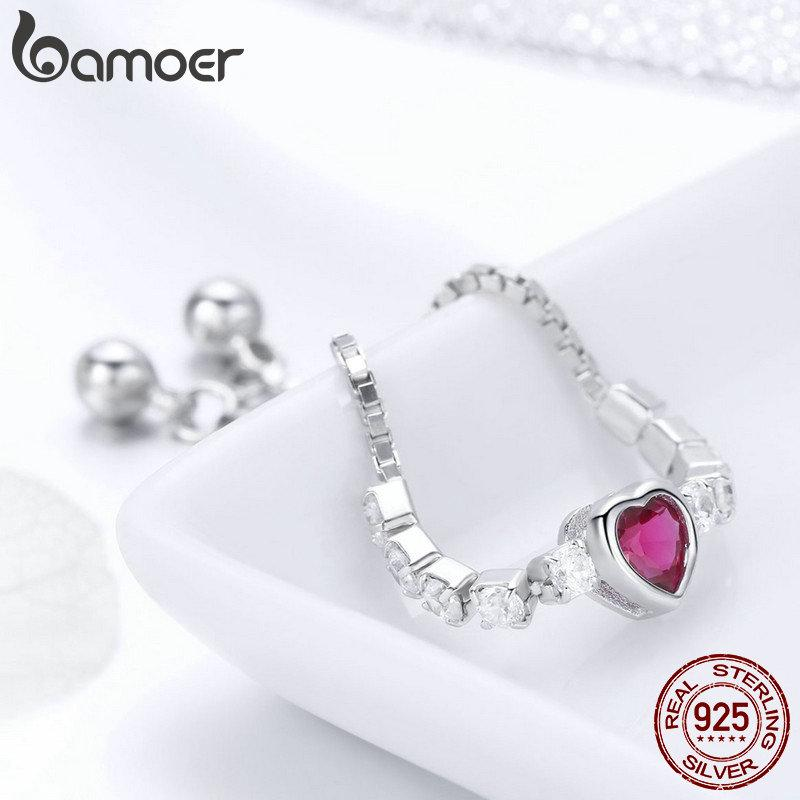 Wholesale Pink Red Crystal Love Heart Chain Link Adjustable Ring Beauty Girl Women Wedding Engagement Anniversary Party Birthday Silver Gift