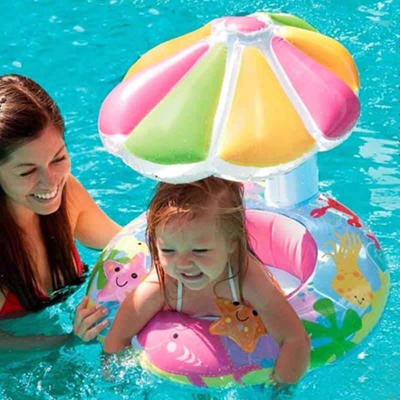 Per i bambini 3-6 anni del nuovo bambino di disegno bella nuotata sede galleggiante anello con Umbrella Infant gonfiabili Nuoto Accessori A012