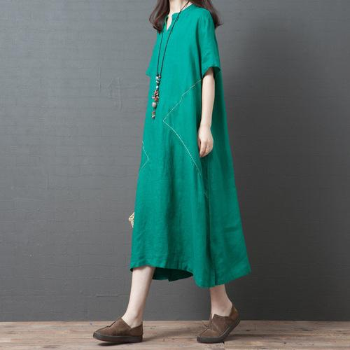 2019 Mujer Xia Kuansong Will Fat Code Mm Vestido de traje Cómodo V Fondo largo Vestido