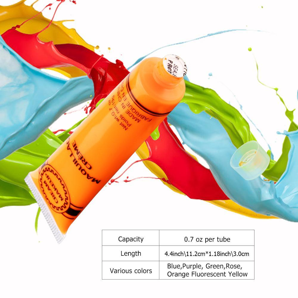 Halloween 6Pcs 6 Colors UV Blacklight Reactive Face & Body Glow Paint Art Party Club Dress Makeup Luminous Glowing Painting Kit