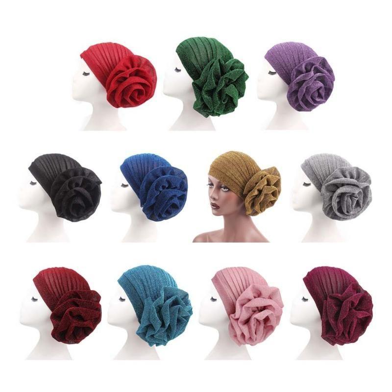 Femmes élastique grande écharpe de fleur Chapeau musulman tête Turban Casual Head Wrap écharpe Chemo cancer Calvitie Cap
