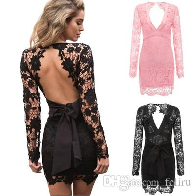 2019 Hot Sale Sexy Women Lace Homecoming Dresses Ladies Evening Party Nightclub Dress Long Sleeves Casual Dresses Womens Clothing