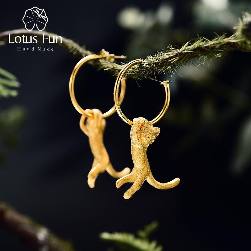 Lotus Fun Real 925 Sterling Silver Earrings Creative Handmade Fine Jewelry Cute 18K Gold Kung Fu Cat Drop Earrings for Women CJ191202
