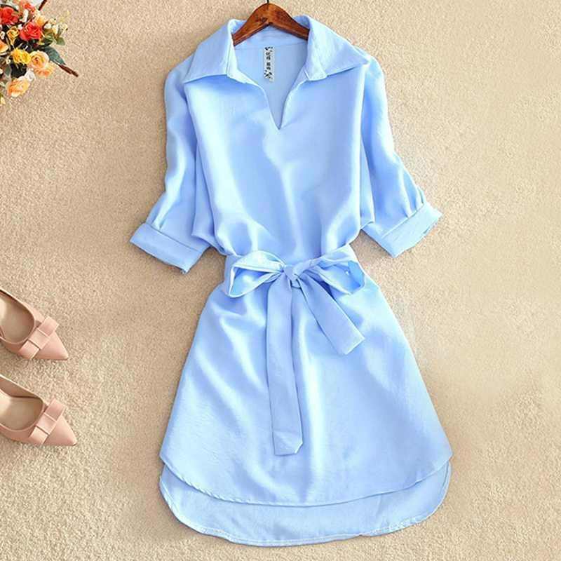 Shirts Women 2020 Summer Casual Dress Fashion Office Lady Solid Red Chiffon Dresses For Women Sashes Tunic Ladies