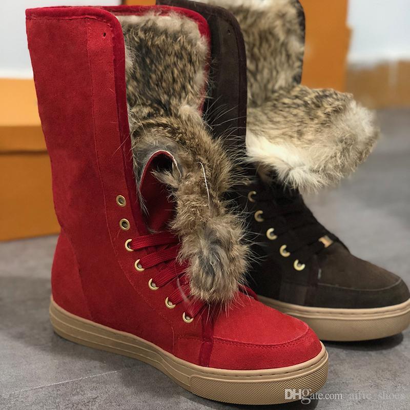 botas de tobillo de las mujeres de piel de diseño en las botas de vaquero de lujo Suede zapatos tacones de plataforma negro de la castaña botas para la nieve gris, azul, rosa de diseño