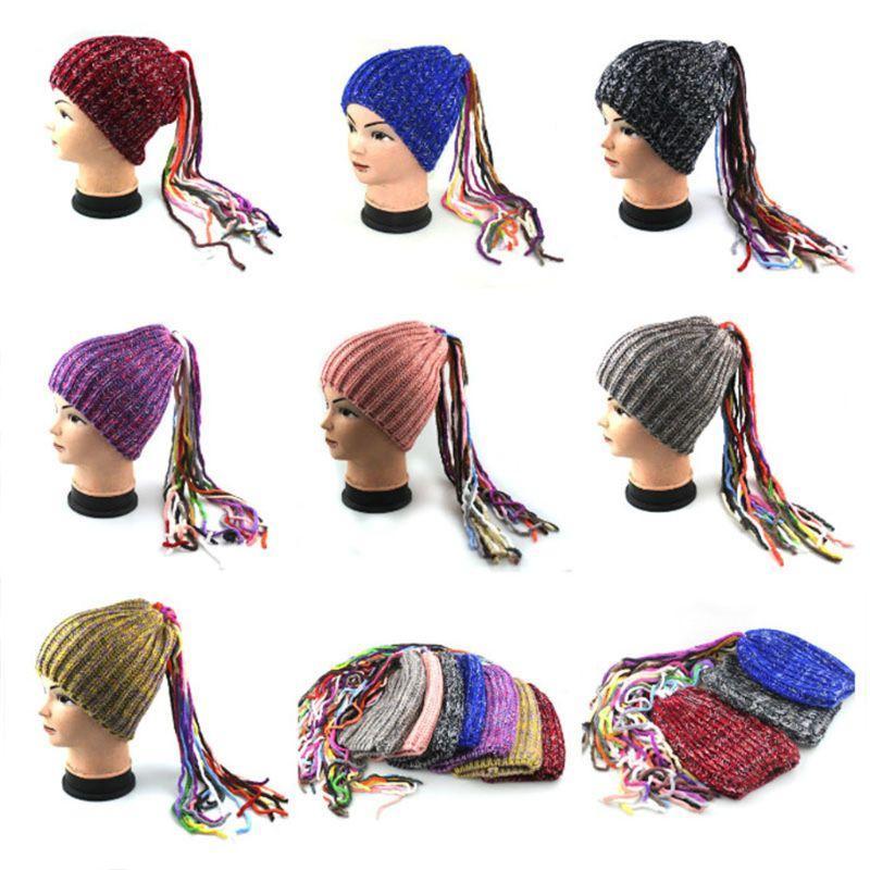 Las mujeres de punto del partido Sombrero de lujo de invierno colorido Dreadlocks peluca borlas Beanie Cap R9CF