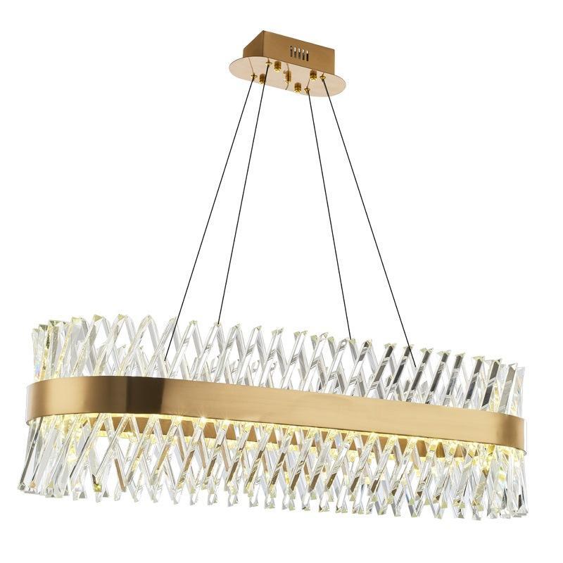 الحديثة K9 الكريستال الثريا الذهب الثريا غرفة الطعام مستطيل بقيادة مصباح مصباح معلق المعادن الخفيفة قطرة لغرفة الجلوس