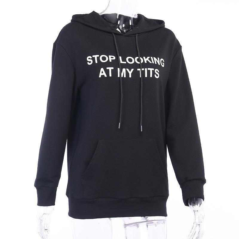 Свитер с капюшоном Перестань смотреть на мои сиськи пуловер с длинным рукавом печати толстовка Толстовка для женщин черный размер (S M L)