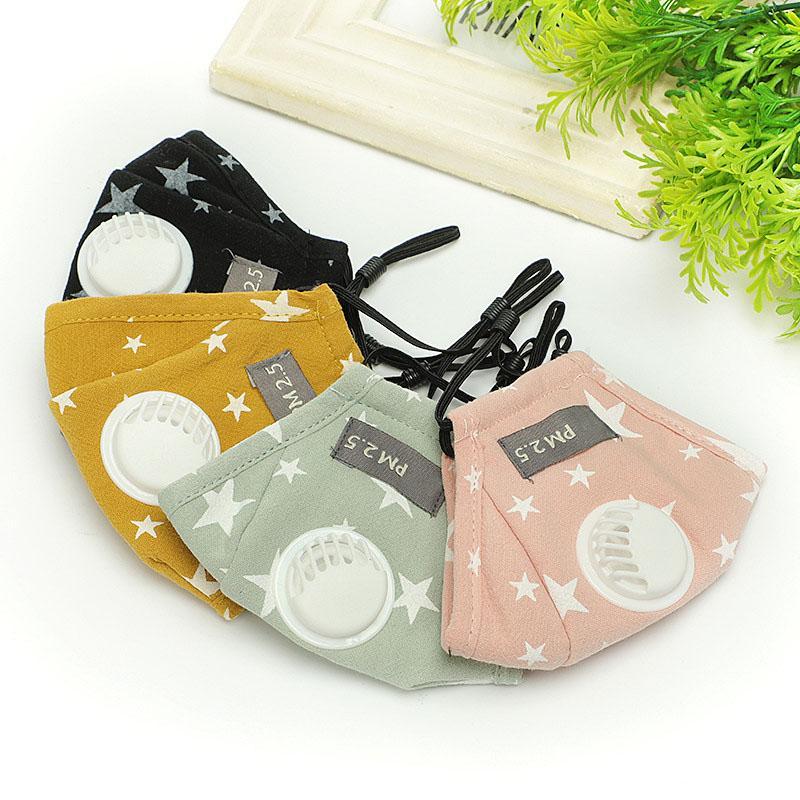 قناع القطن تنفس للأطفال الأطفال في الهواء الطلق في الهواء الطلق غطاء قابل للغسل قابلة لإعادة الاستخدام قناع الاطفال قناع الوجه مع 2 مرشحات