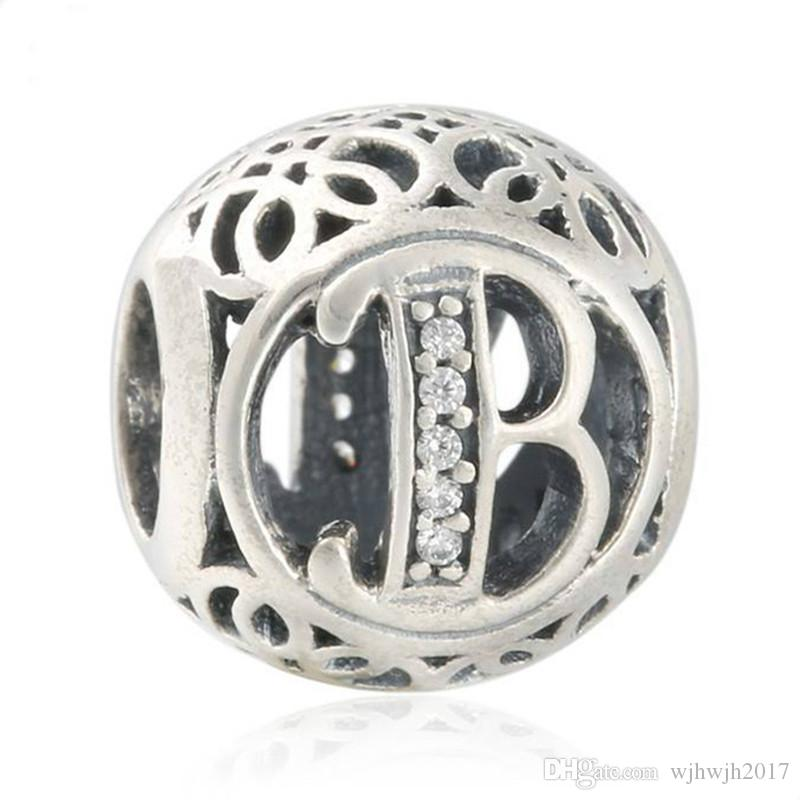 New100% Authentic 925-Sterling-Silver Openwork Letter B Metal Alphabet Beads For Jewelry Making Fit Original European Women Charm Bracelet