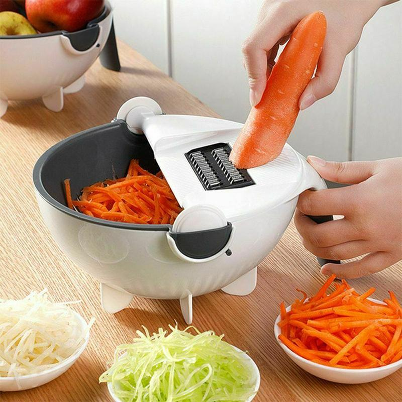 Kitchen Vegetable Cutter with Draining Basket Multi-functional Durable Magic Rotate Veggie Graters Tik Tok Same Style