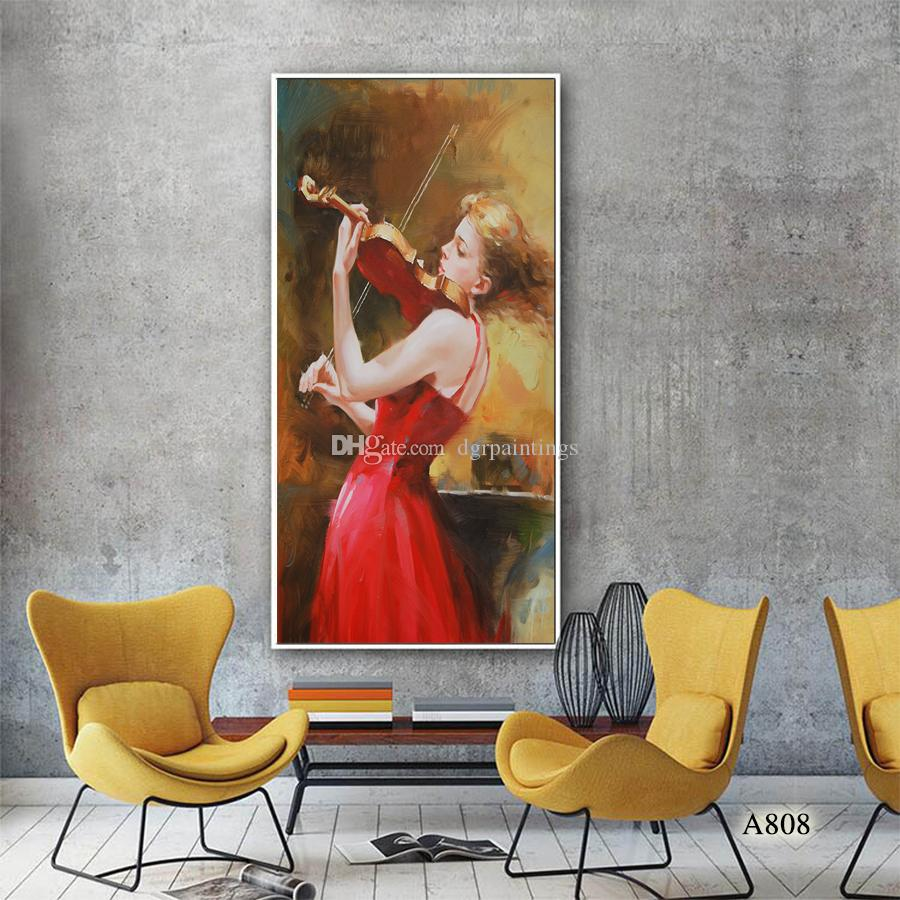 High Quality 100% Handpainted Modern Decorative Figure Oil Painting on Canvas the Beautiful Girl Home Wall Decor Art A808