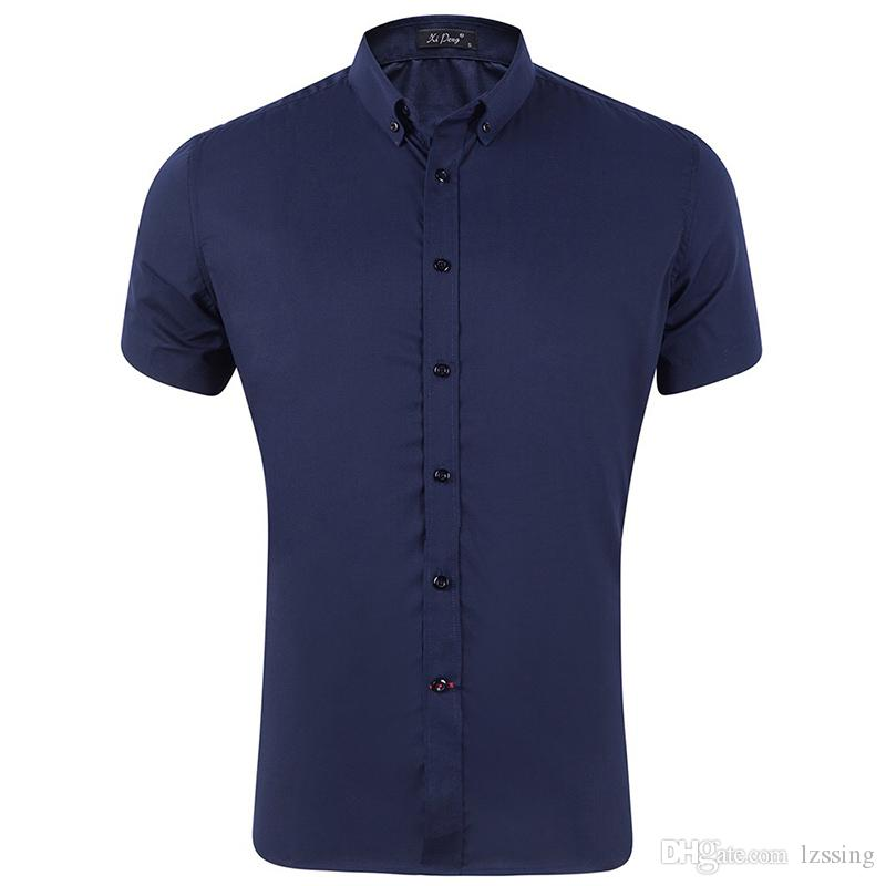 Navy Dress Shirts Men Short Sleeve Slim Fit Solid Button Down Shirt Male Casual Easy Care Shirt For Business Men GD26