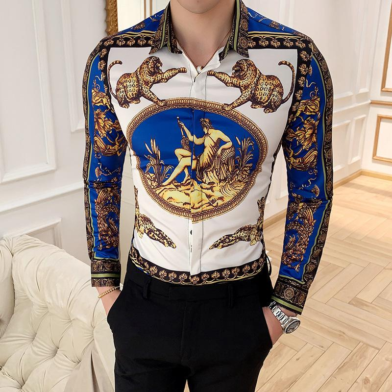 Camisa Masculina camisa de manga longa Man Quatro Golden Leopard impressão Slim Fit Camisas Casual Verão New Mens Club Top Social