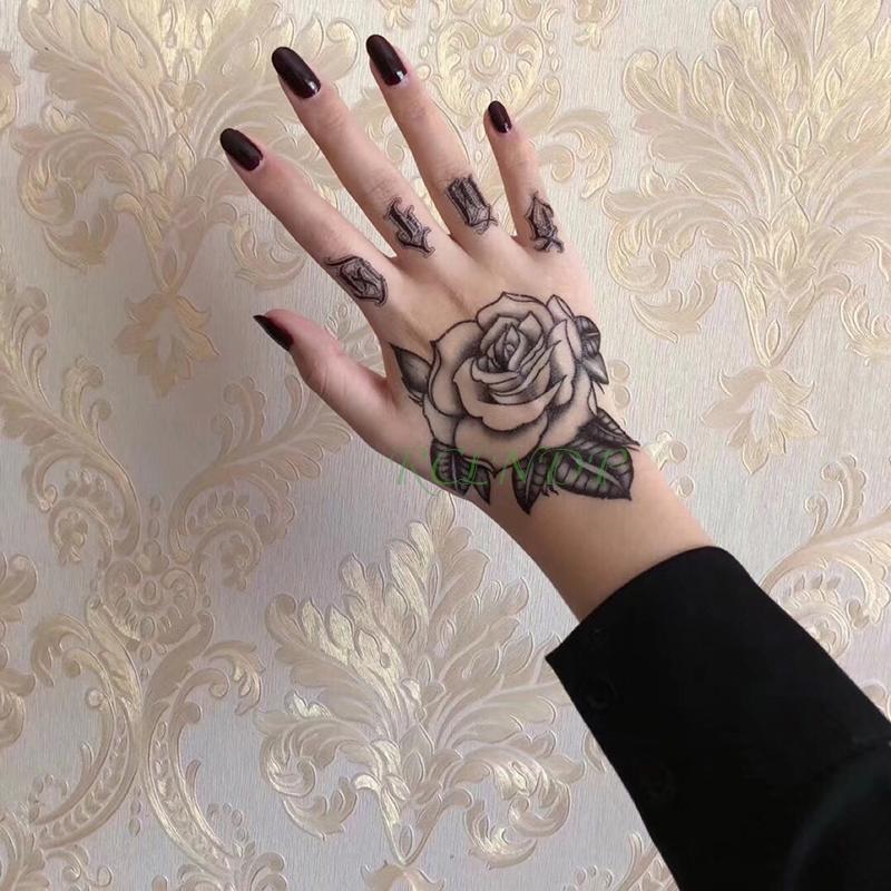 10 pz / lotto autoadesivo del tatuaggio temporaneo impermeabile fiore rosa falso tatto flash tatoo mano braccio piede indietro tato body art per ragazza donna uomo