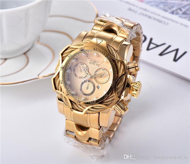 Heißen verkauf INVICTA Marken-Uhren Herren-Uhr-klassische Art Große Dial Auto Date Mode Rose Golduhr relojes de marca