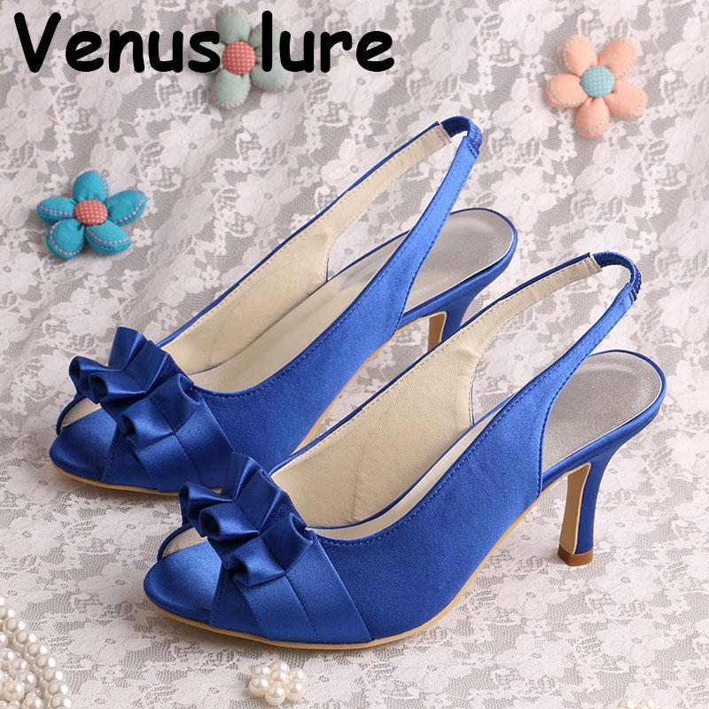 Custom Handmade Peep Toe Blue Wedding Shoes for Women Slingback Summer Sandals