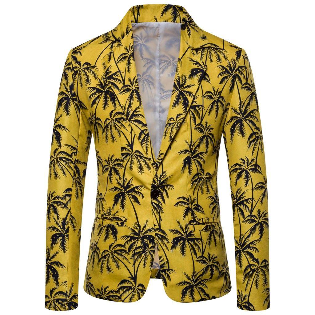 Giacca sportiva degli uomini Nizza Plus Size floreale Flowers Stampa Tropical Hawaii manica lunga Casual Jacket Slim Fit Blazer floreale Coat Tide