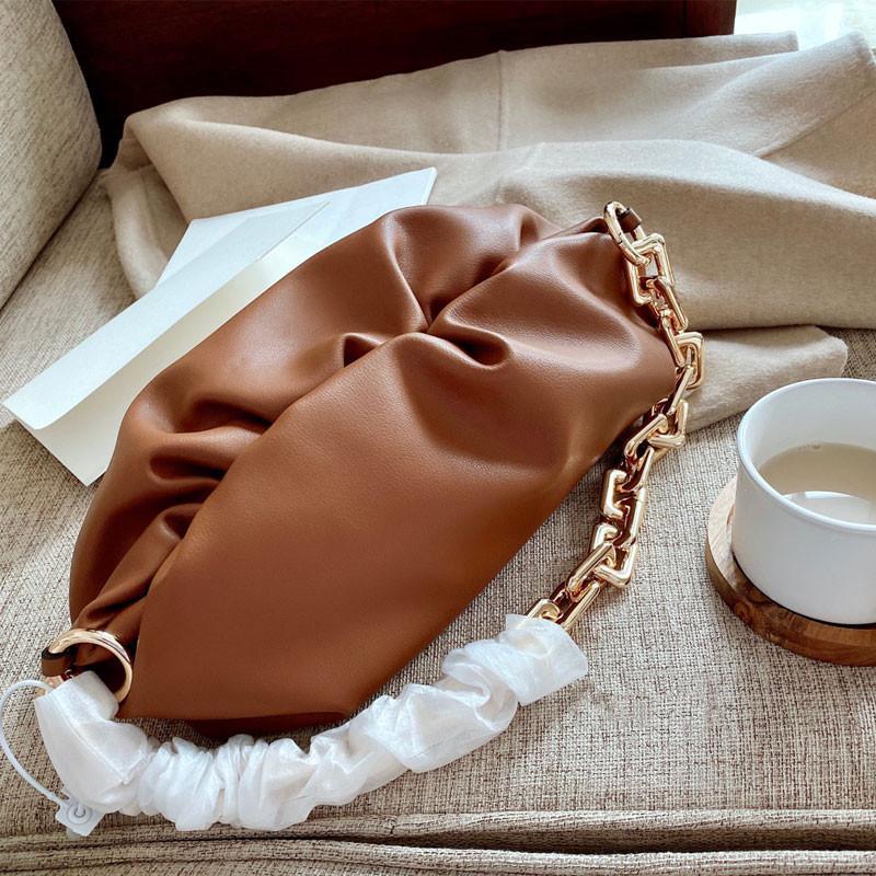 Echte Qualität Handtaschen Womens Bag Kette Umhängetasche Wolke Taschen Damen Leder Hand Ledertaschen Hohe echte Ptafi Wesebn