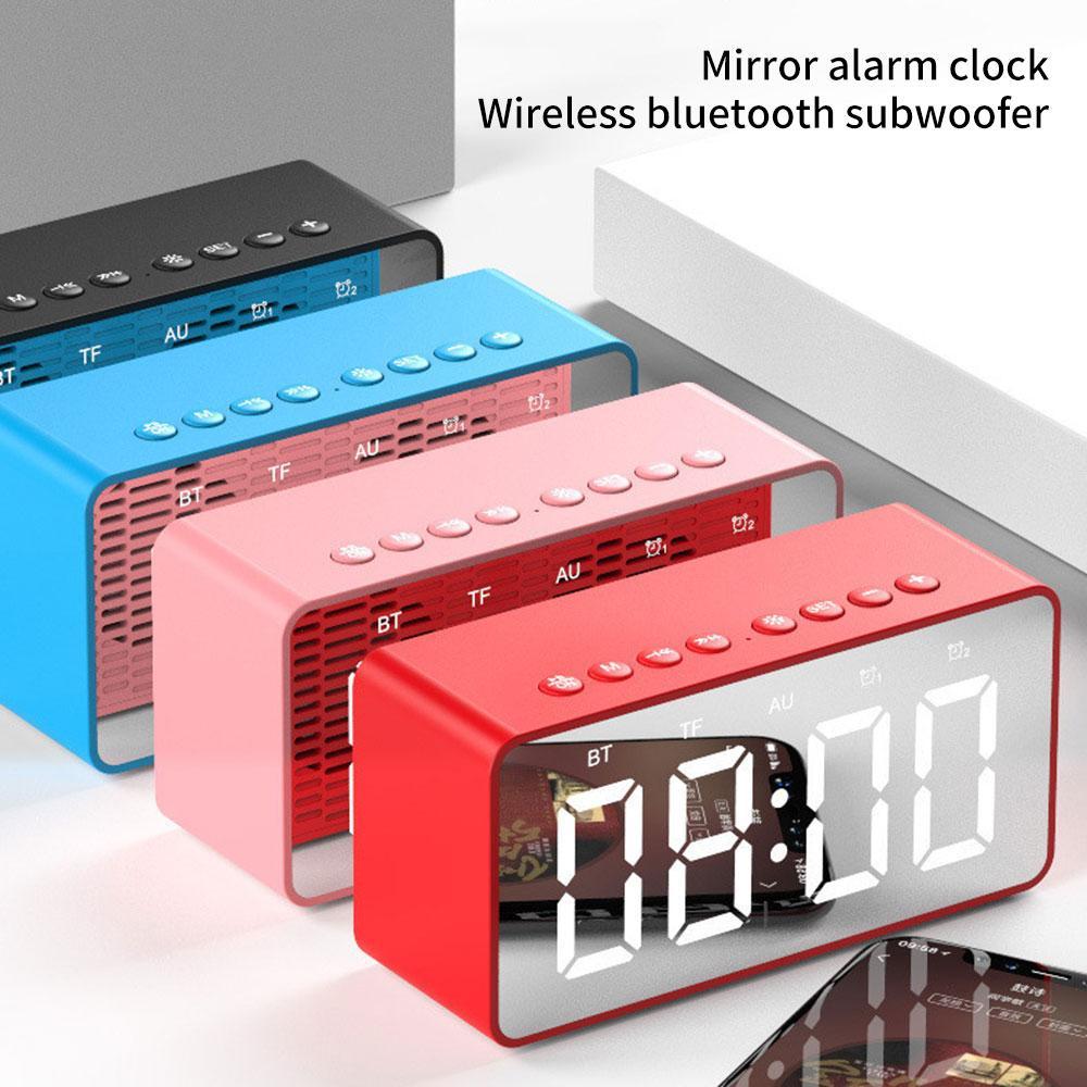 Suporte sem fio Bluetooth Speaker Subwoofer LED Espelho despertador TF FM AUX portátil LoudSpeaker cabeceira baixo caixa Speaker