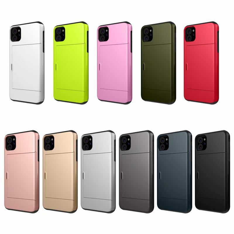Darbeye Hibrid PC + TPU Kredi Kartı Yuvaları Telefon Kılıfı 2020 Pro Max X XS XR 8 7 6S Artı iphone SE iphone 11