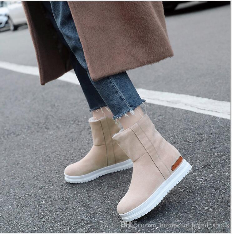 Versão coreana de botas de neve, botas curtas, saltos quentes