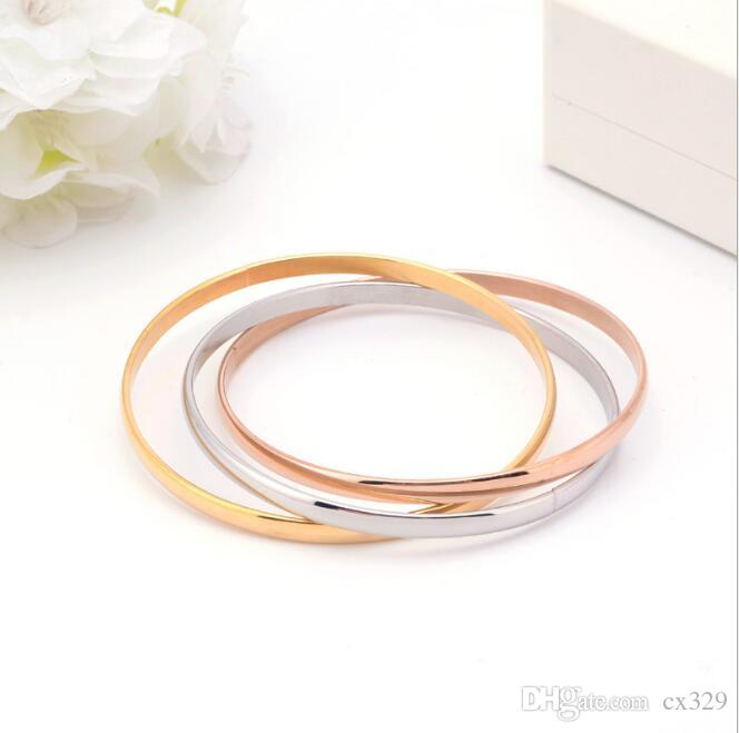 ZILR Liebhaber Korean Außenhandel Titan Stahl Runde Gold 18K Galvanotechnik Schmuck Tri-Ring glatt Armband Hersteller Großhändler