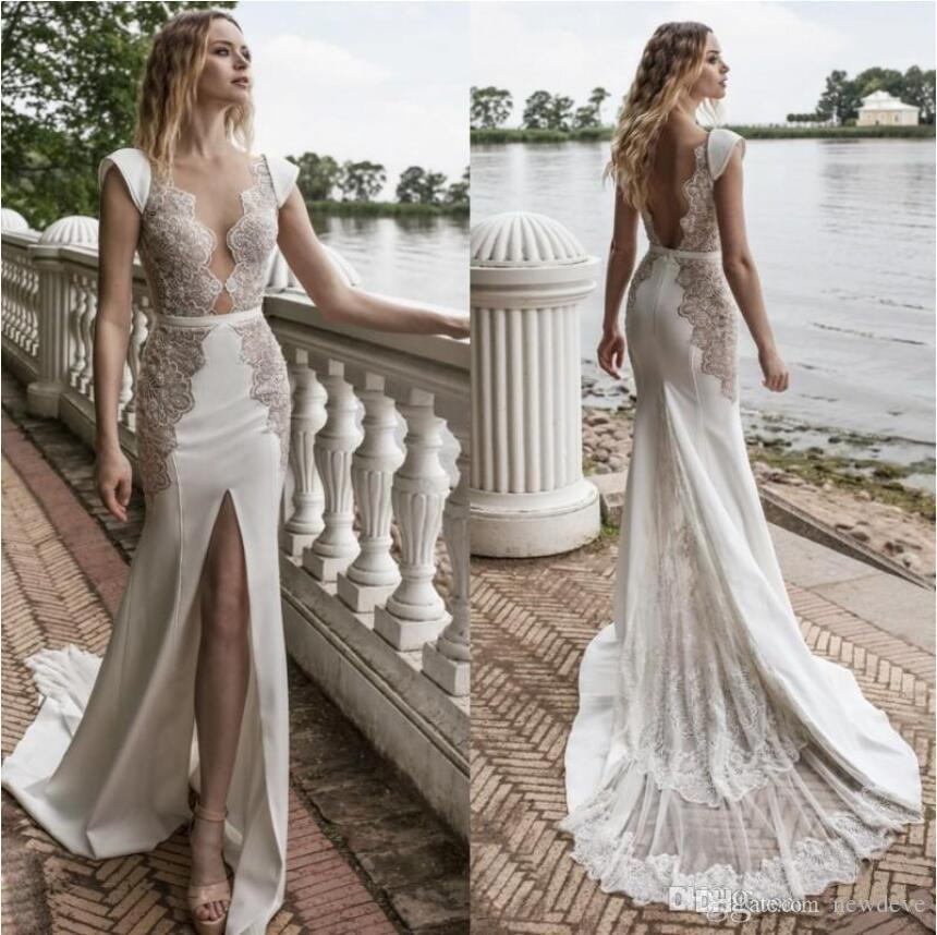 Lian Rokman 2019 Front Split Wedding Dresses Sexy Sheer Plunging Neckline Lace Appliqued Satin Mermaid Bridal Gowns robe de mariée