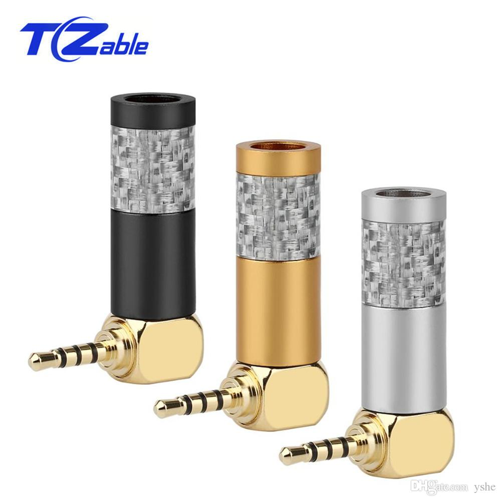 10pcs 2.5mm Male Hifi Headphone Audio Connector Stereo Jack 90 Degree Adaptor Carbon Fiber Gold Plated Plug Earphone Cable DIY Adapter2.5mm