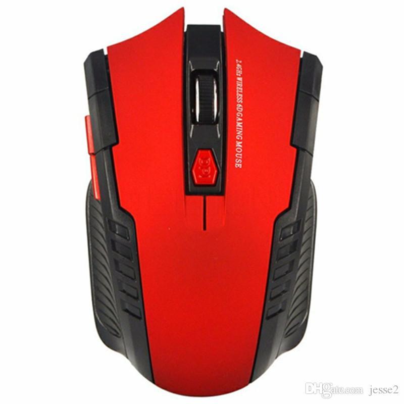 Беспроводной игровой мыши для геймера компьютера PC ноутбук игровой мыши 6 кнопки 2400DPI регулируемый оптический 2.4 GHz с приемником USB